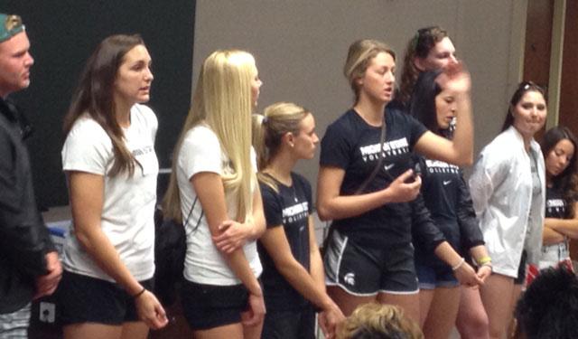 MSU student athletes speak to Joe's Kids